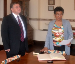 Gillian Francis takes the Oaths for Acting Chief Secretary