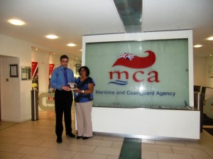 Recieving the UK Ship Register Plaque from Graeme Carnegie MCA