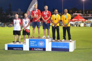 Recieving their Silver Medals Pic. St Helena Team, Bermuda