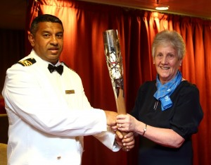 Captain Greentree and Mrs Louise Martin CBE Hon Secretary of the Glasgow Commonwealth Games Association