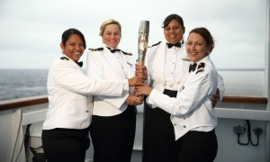 RMS St Helena Crew Members with Queen's