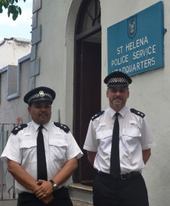 Inspector Matt Webb with St Helena Inspector Jonathan Thomas