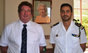 Acting Governor Sean Burns and Commander Riaz Akhoune