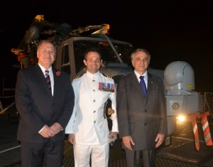 L to R - Governor Mark Capes, Commander Peter Laughton MBE HMS Lancaster and Ambassador Jean Mendelson, representing the French Government