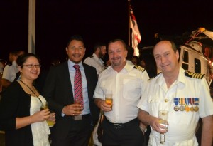 RFA Gold Rover Commander Selby with guests