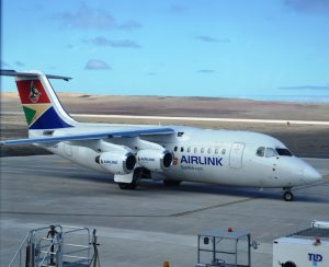 SA Airlink Avro RJ85 parked on apron at St Helena Airport